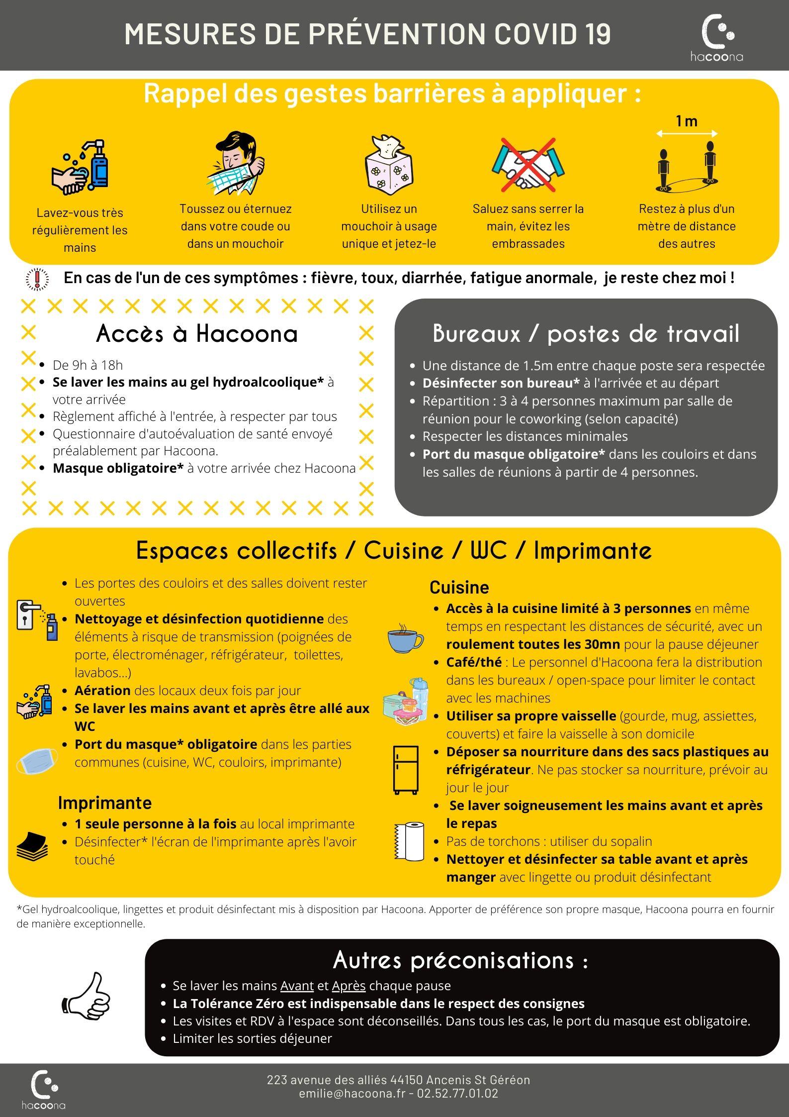 Mesures de précaution covid 19 - Hacoona